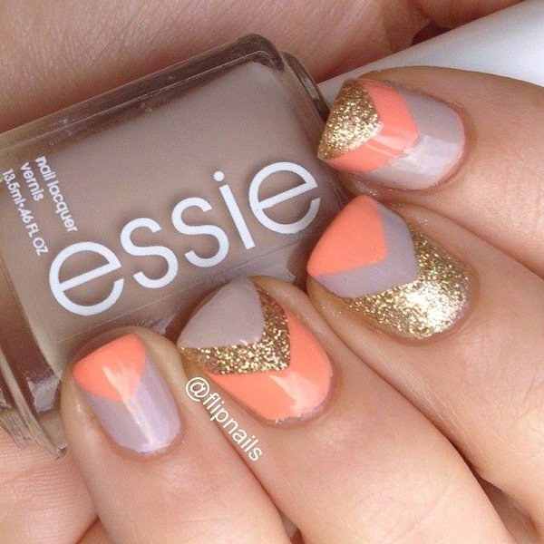 70 stunning glitter nail designs 2017 v shaped gold glitter melon and periwinkle nail art design prinsesfo Image collections