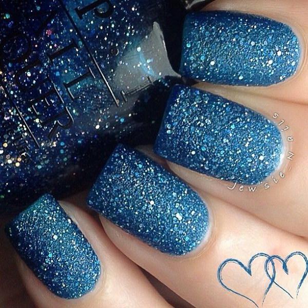 Full Aqua Blue Glitter Matte Nail Design.