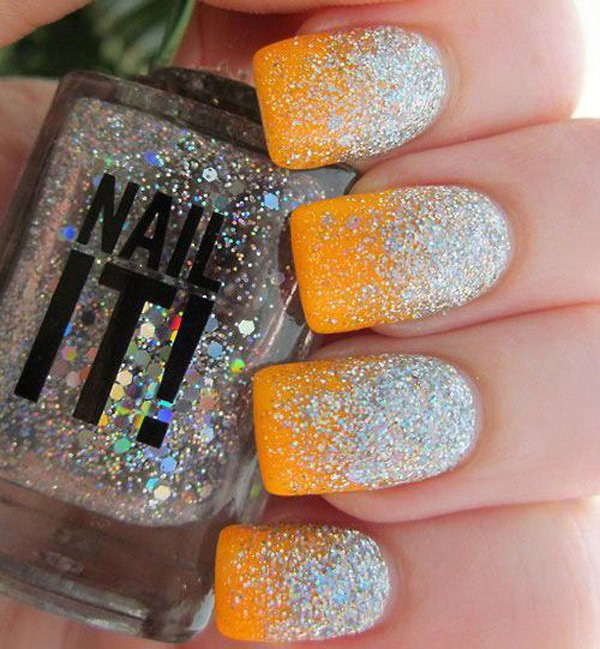 Glittering Half Moon & Neon Orange Background Nail Art.
