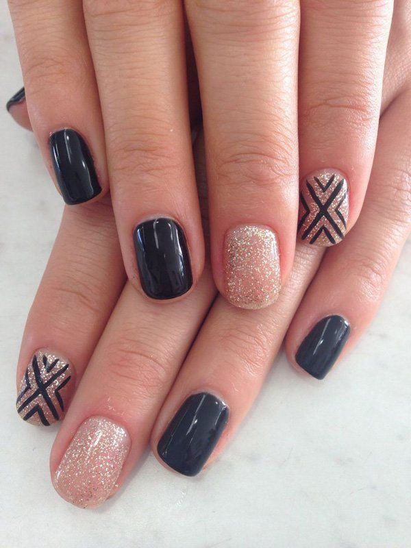 Black Matte & Silver Dust with Criss cross Details Nail Design. - 70+ Stunning Glitter Nail Designs 2017