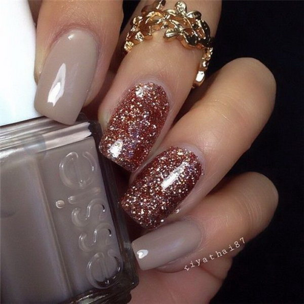 Rose Gold Glitter Nail Art Design