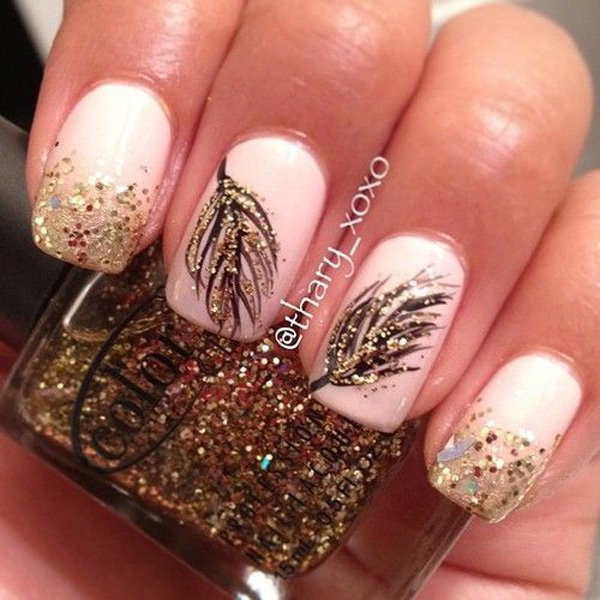 Fall Themed Nail Art with Gold Glitter & Leaf Details.