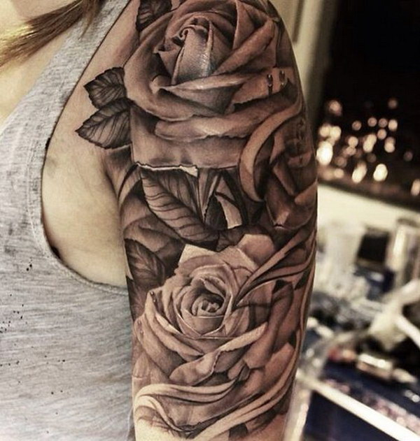 3D Floral Half Sleeve Tattoo Design.