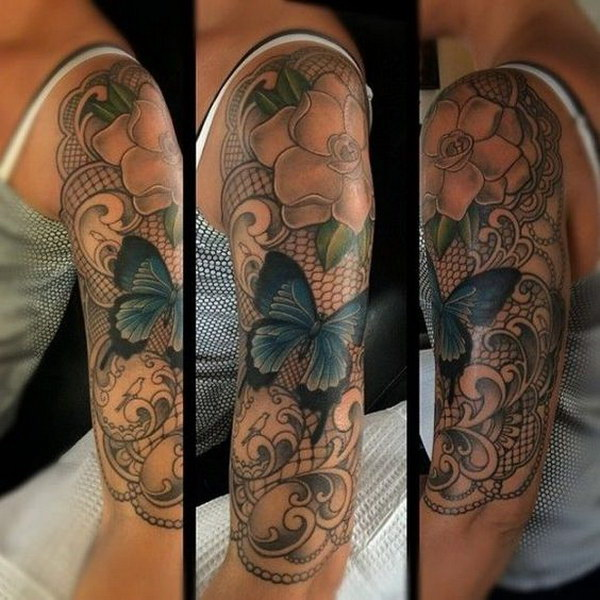 Half Sleeve with Flowers and Butterfly.