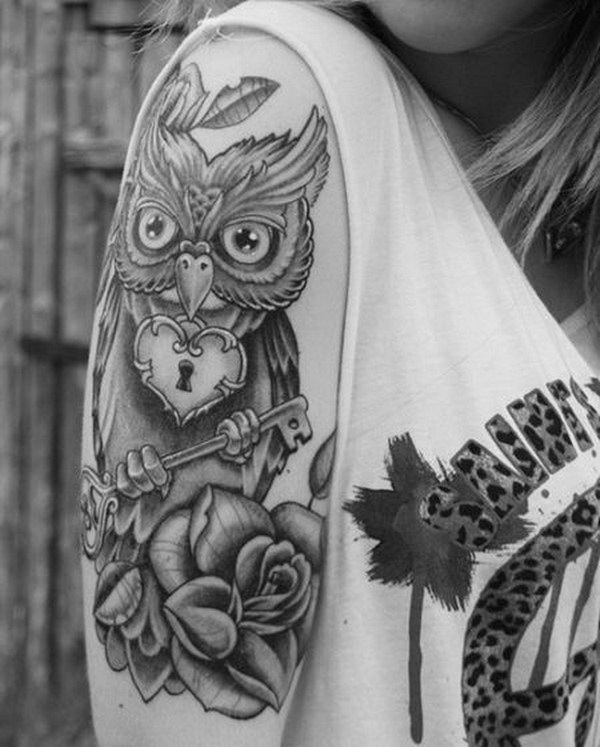 Vintage Owl and Rose Sleeve Tattoo For Girls.