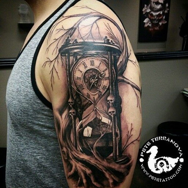 Black and Gray Custom Hourglass Tattoo on Sleeve.