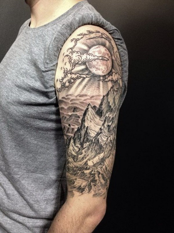 A Badass View for an Impressive Half Sleeve Tattoo Design.