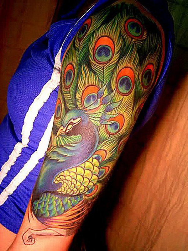 Peacock Half Sleeve Tattoo.