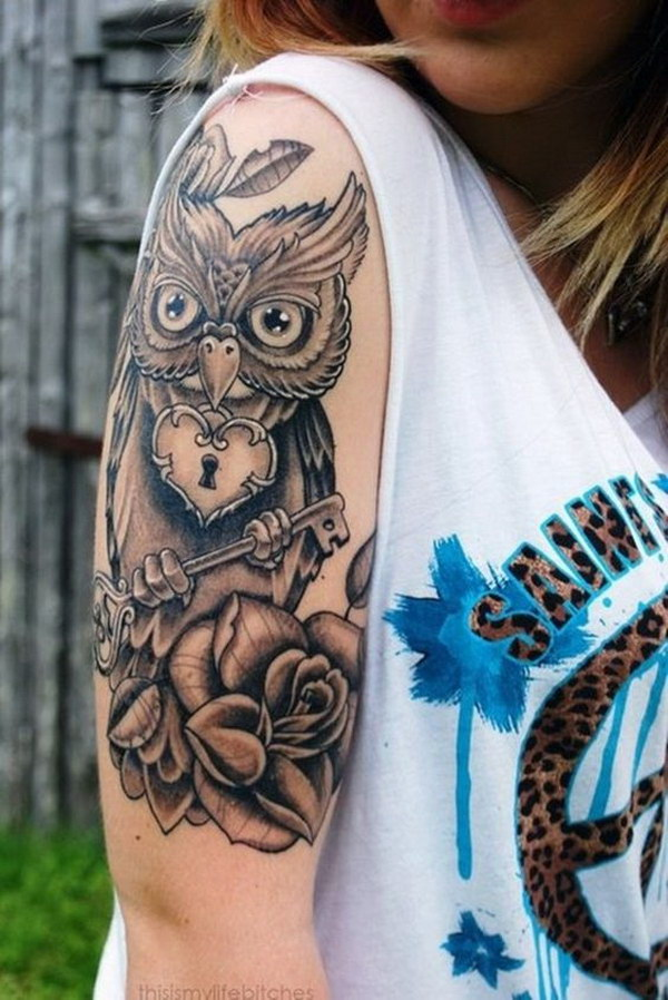 Owl Half Sleeve Tattoo Design.