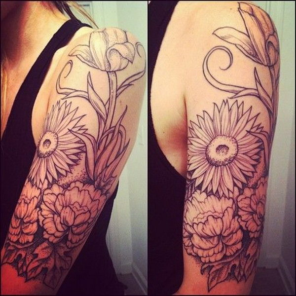 Floral Half Sleeve Tattoo Design.