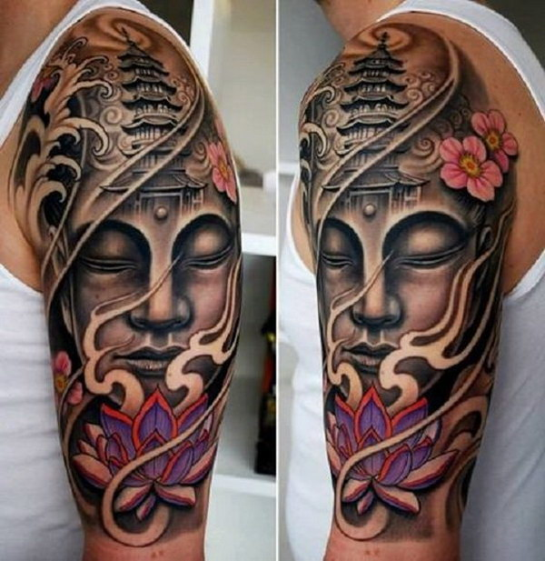 Buddha and Lotus Half Sleeve Tattoo Design.