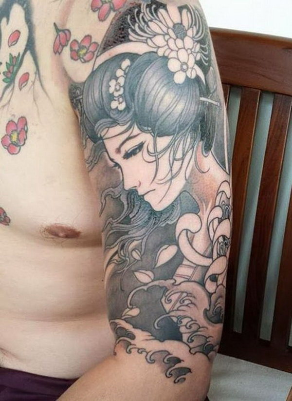 Geisha Tattoo on Sleeve.