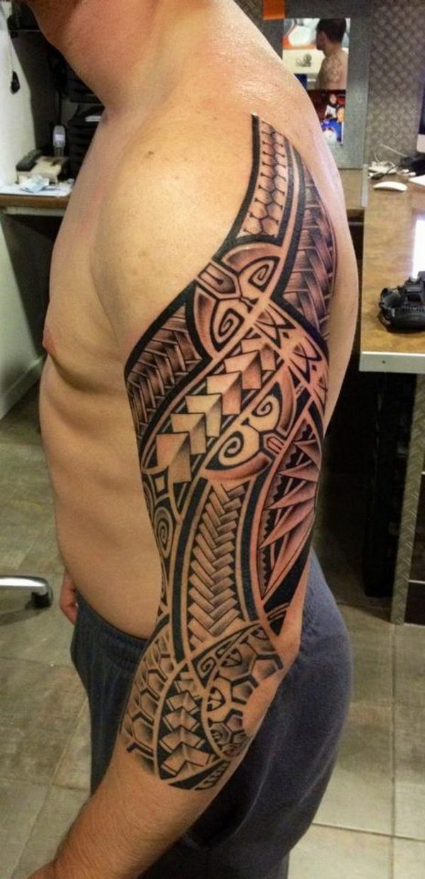 Polynesian Half Sleeve Tattoo Design.