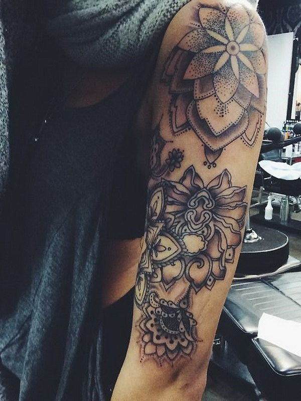 Amazing Half Arm Sleeve Tattoos for Girls.