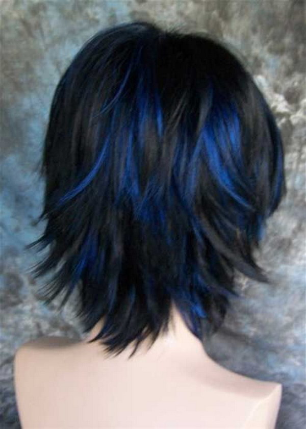 Black Hair with Blue Highlights.