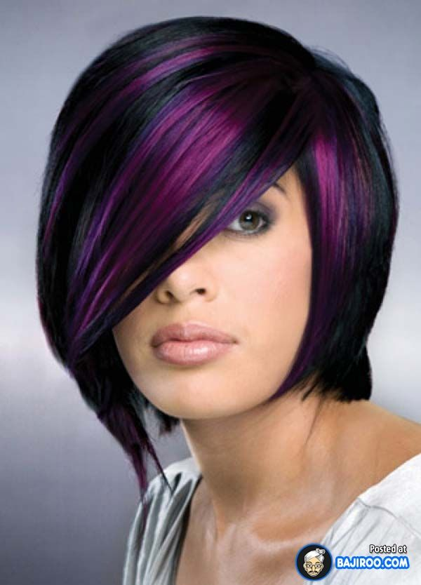 Purple Highlights for Short Black Hair.