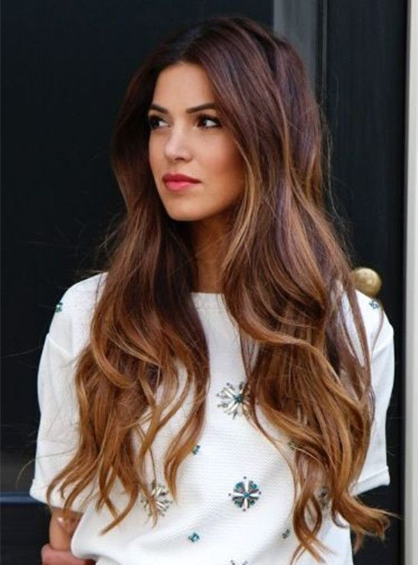 50 stylish highlighted hairstyles for black hair 2017 brown ombre long wavy hair with highlight pmusecretfo Image collections