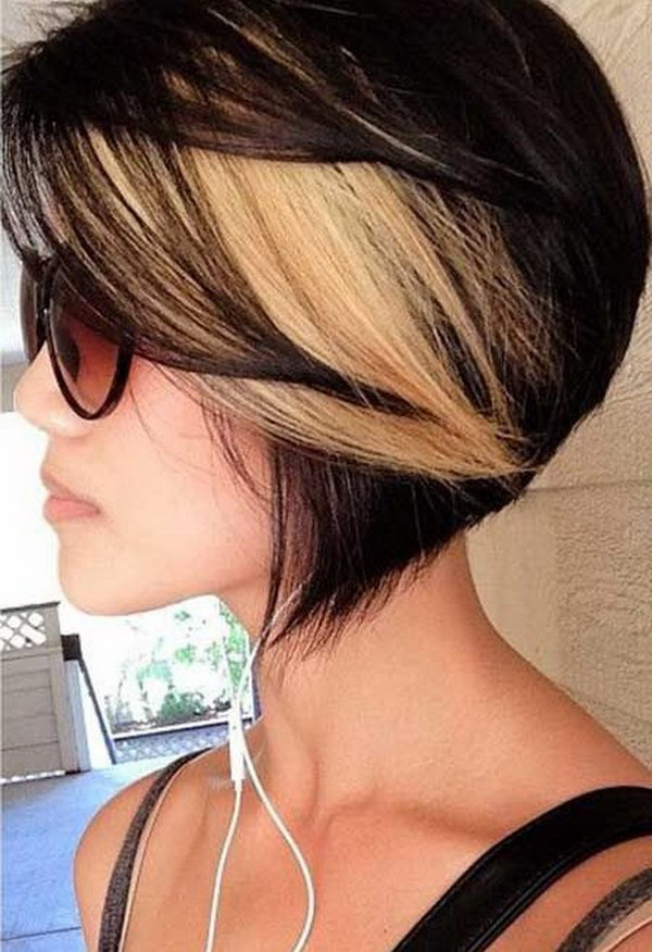 Short Black Hair with Blonde Highlights.