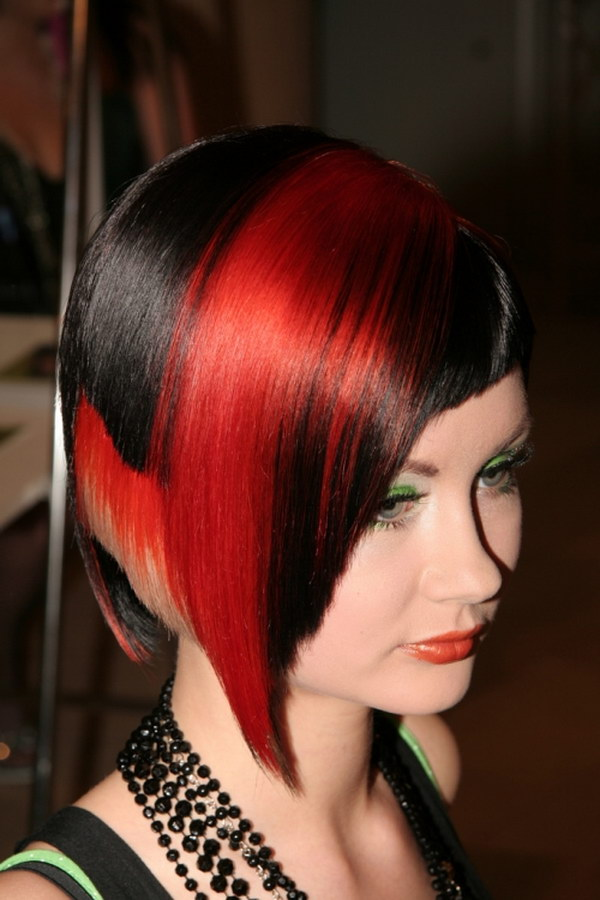 Red Highlights on Black Short Hair.