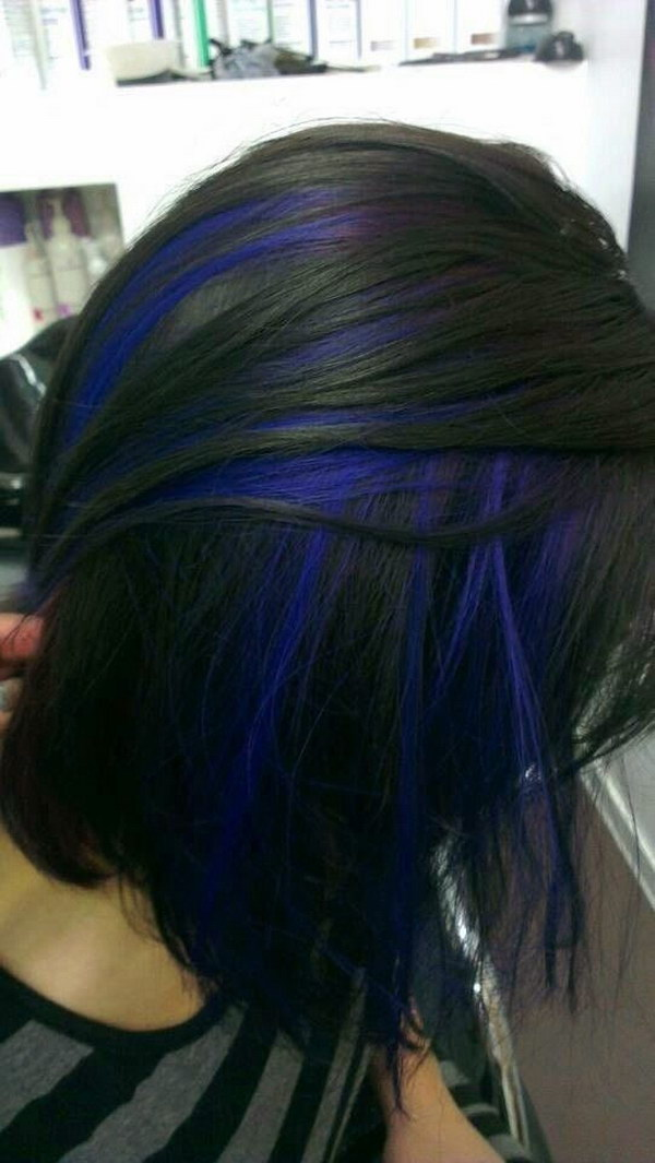 Dark Black Hair With Blue Highlights.