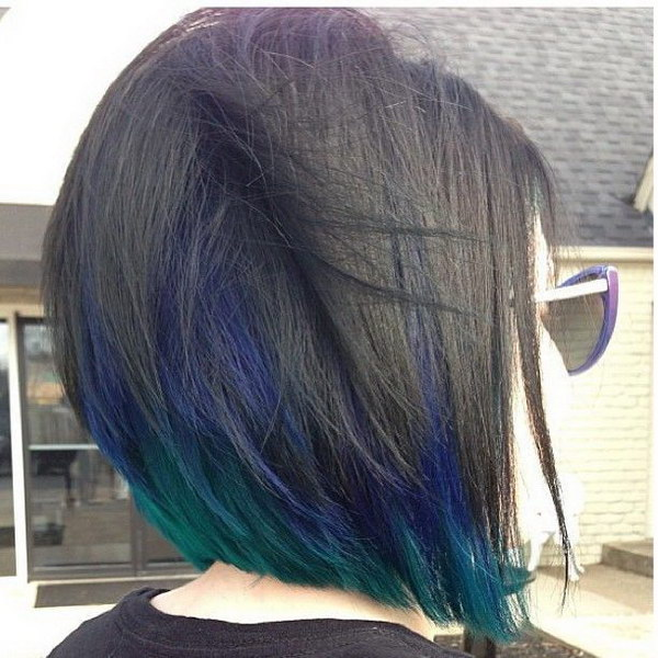 50 stylish highlighted hairstyles for black hair 2017 cute bob haircut with ombre blue highlights pmusecretfo Images