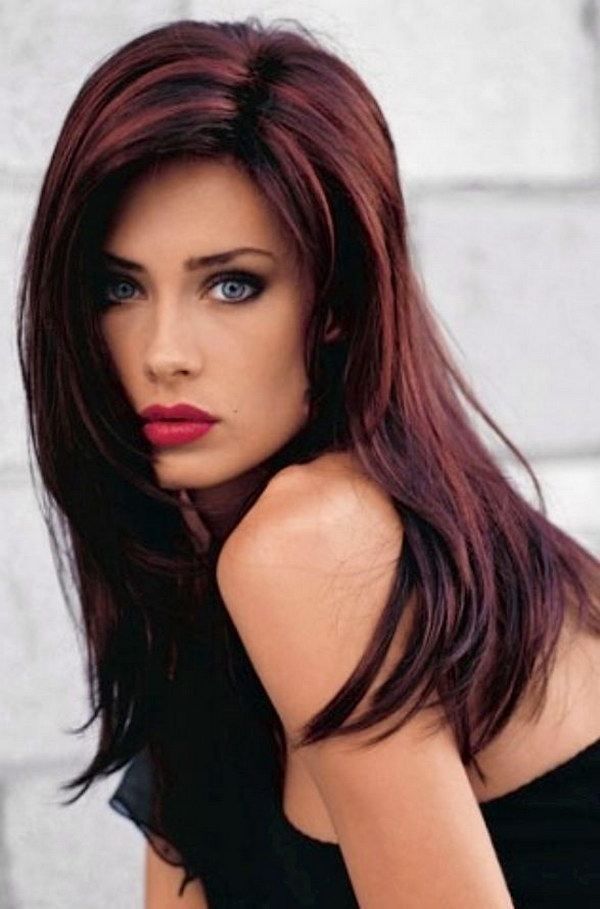 Black Hair with Deep Red Highlights.