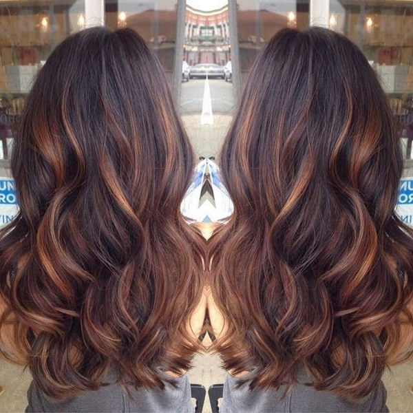 Brunette Highlighted for Long Wavy Black Hair.