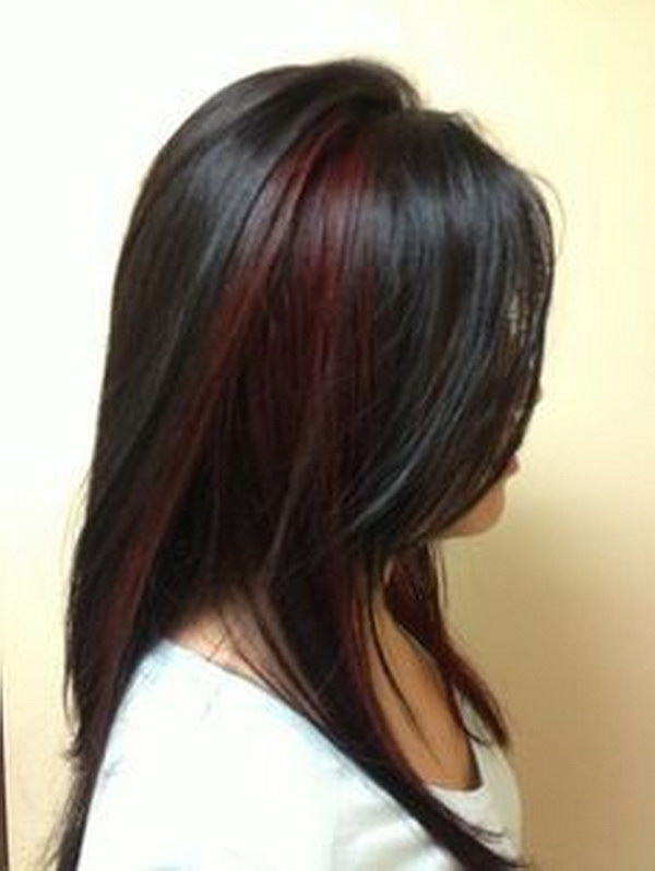 Red Highlighted Hairstyle for Black Hair.
