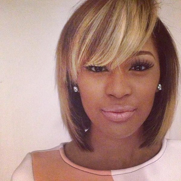 Blonde Highlights for Black Bob Hair.
