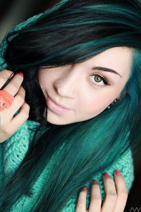 Teal Highlighted for Long Black Straight Hair.