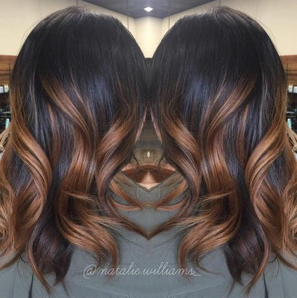 50 stylish highlighted hairstyles for black hair 2017 black hair with caramel ombre highlights pmusecretfo Choice Image