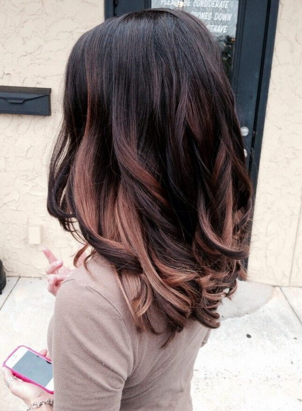 50 stylish highlighted hairstyles for black hair 2017 black hair with rose gold highlights hairstyles pmusecretfo Choice Image