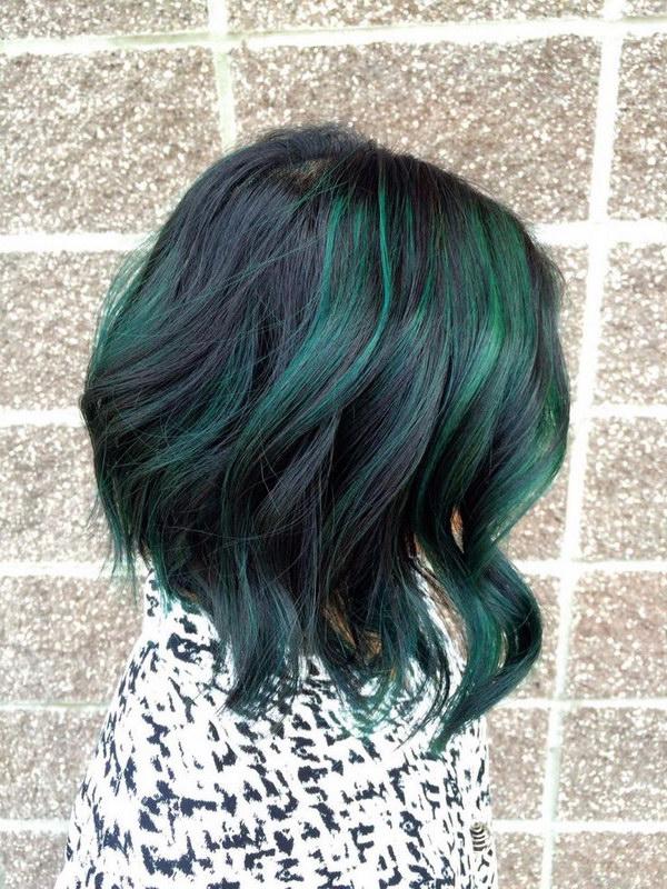 Peacock Green Highlights on Short Black Hair.