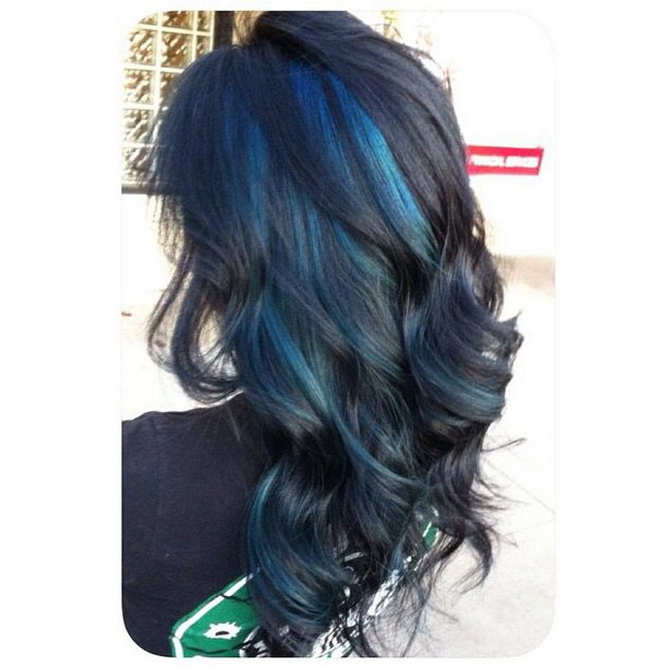 Black Wavy Hair with Blue Peekaboo Highlights.
