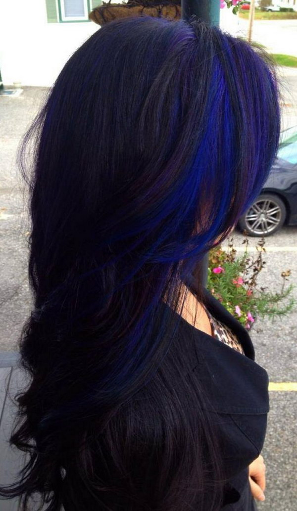Blue Highlighted Long Black Wavy Hairstyle.