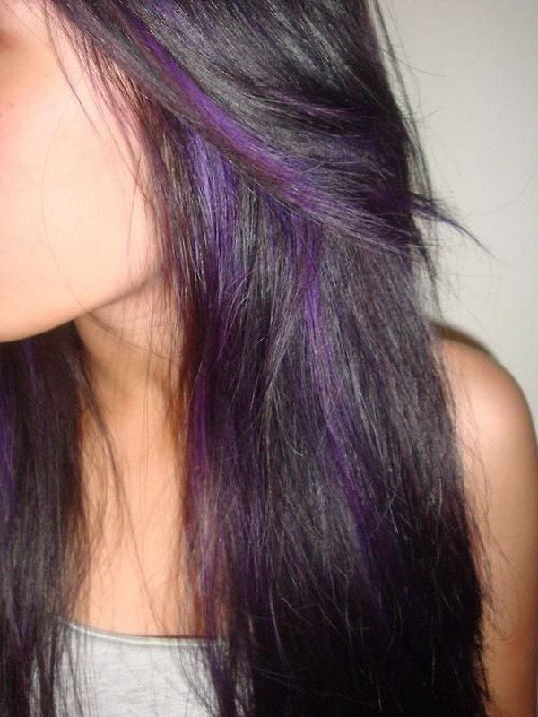 black Hair with Purple Peek A Boo Highlights.