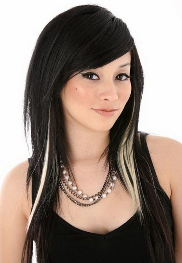 Black Hair with Highlights Underneath.