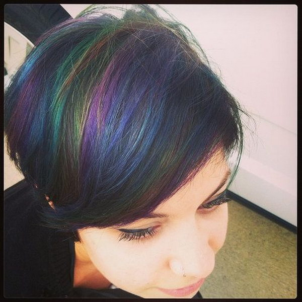 Black Hair with Rainbow Highlights.