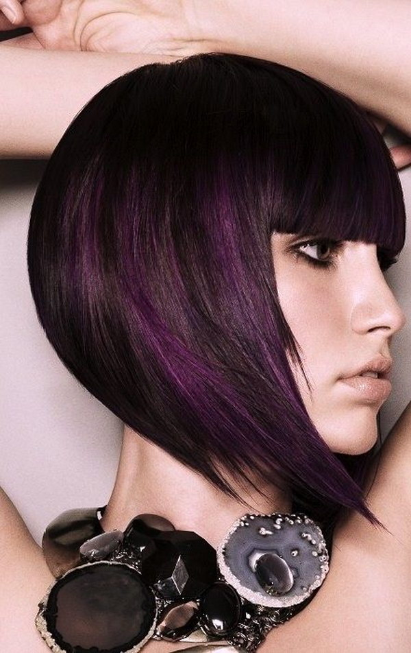 Black Hair with a Subtle Hint of Purple Highlights.