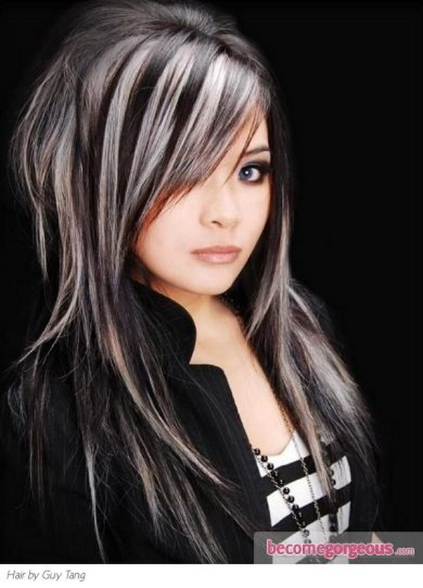 Black Hair With Platinum Blonde Highlights