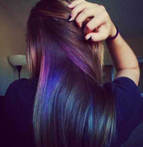 50 stylish highlighted hairstyles for black hair 2017 black hair with purple and blue highlights pmusecretfo Gallery