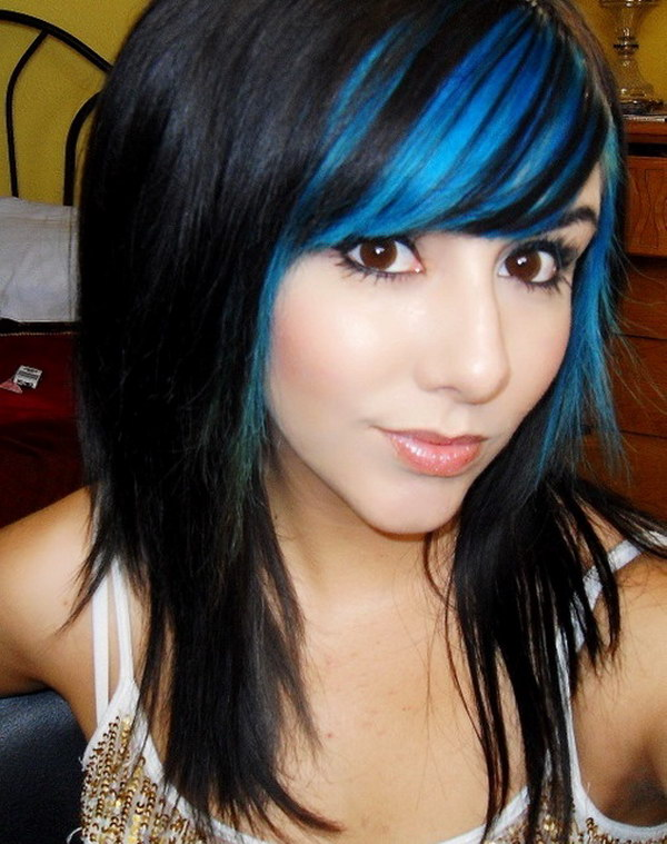 Blue Highlights on Black Straight Hair.