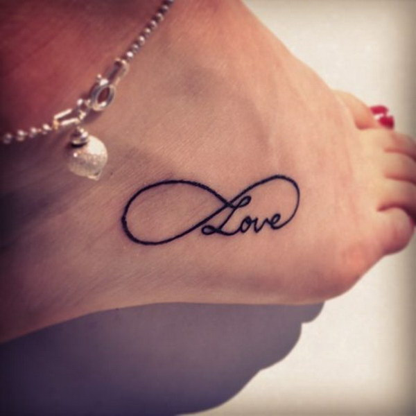 Black Infinity Love Tattoo on Ankle.