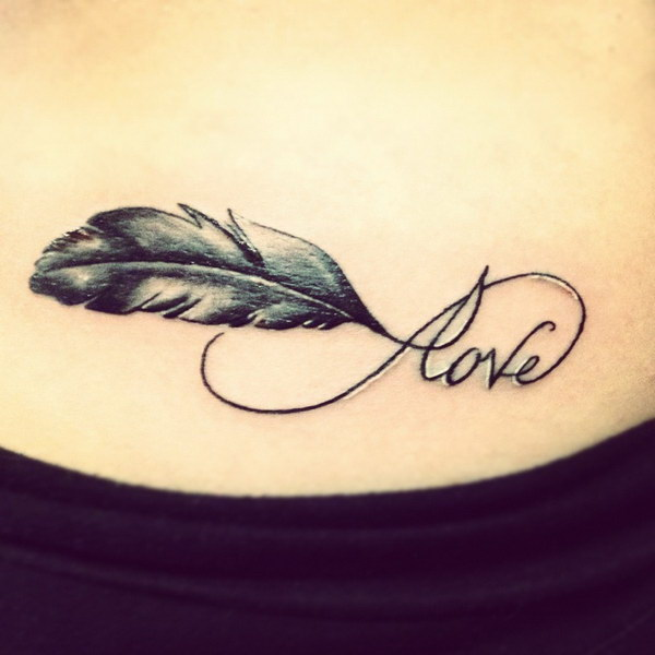 Love and Feather Infinity Tattoo Ideas.