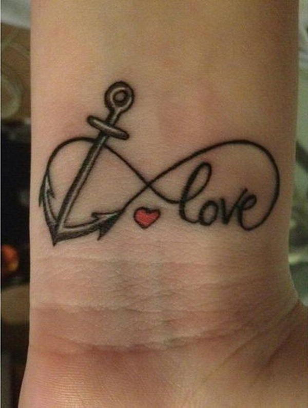 Anchor and Love Infinity Tattoo for Girls.