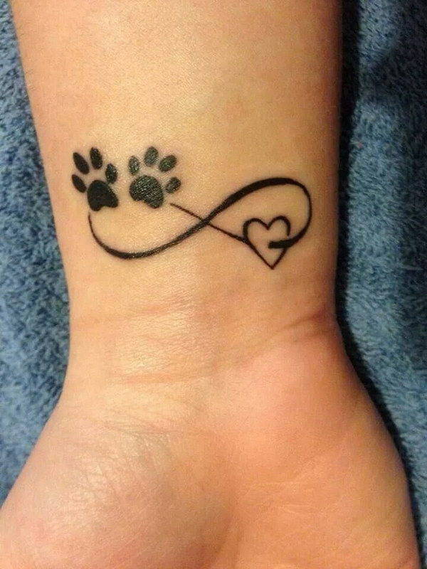 Cute Pawprints on Heart Infinity Tattoo Idea.