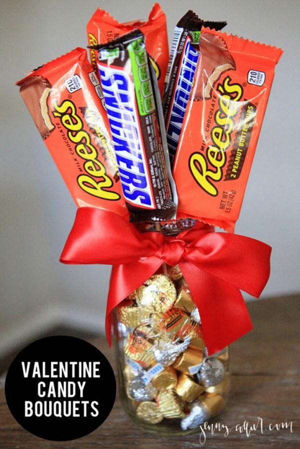 Valentine Candy Bouquets Mason Jar