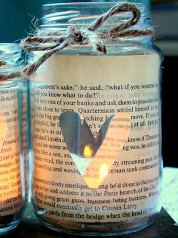 Vintage Sheet Music Glass Jar Candle Holder