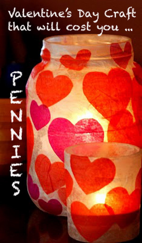 Valetine's Day Paper Mache Candle Jar
