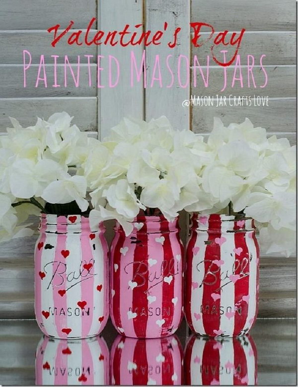 Valentine Painted and Distressed Heart Mason Jars